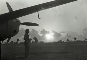 [A Soldier Stands Guard on the Air Strip]