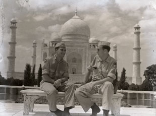 [The Photographer and a Friend in front of the Taj Mahal]