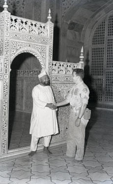 [A U.S. Airman and Taj Mahal Guard]